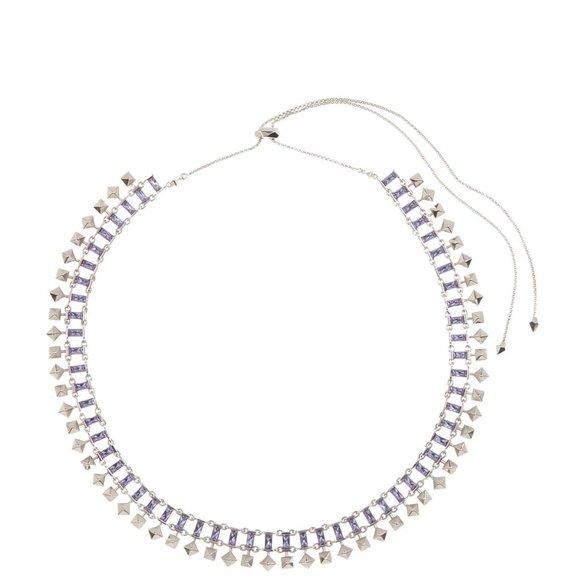 NWT Kendra Scott Oscar Necklace silver purple